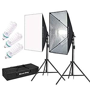 MOUNTDOG 1350W Softbox Lighting Kit Photography Studio Light 20″X28″ Professional Continuous Light System with 3pcs E27 Bulbs 5500K Photo Equipment for Filming Model Portraits Advertising Shooting