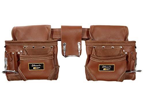 Genuine Finished Leather Framer's Rig Tool Belt 3450, Brown, with 10 Sliding Pouches and 3 Hammer Holders | Built Tough for Construction Work | Comfortable All Day | Commercial Grade (Three Pouch Pocket Waist Apron)