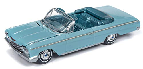 1962 Chevrolet Impala Open Convertible Twilight Turquoise Light Teal Interior Vintage Muscle Limited Edition to 4,128 Pieces Worldwide 1/64 Diecast Model Car Autoworld 64192/ AWSP014 B