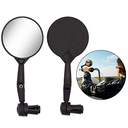 Jeemitery A Pair of Bar End Bike Mirror,Safe Rearview Mirror Adjustable Rotatable Handlebar Mounted Plastic Convex Mirror for Mountain Road Bike