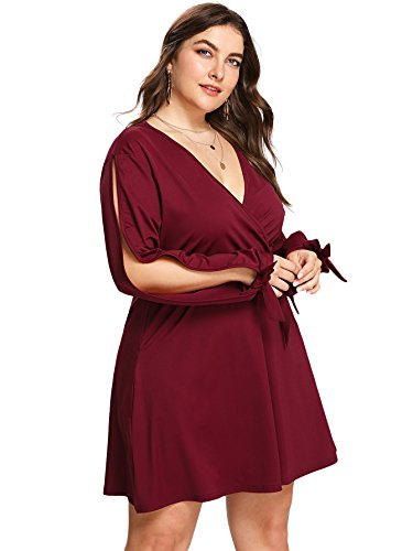 Milumia Plus Size Cold Shoulder Mini Dress Wrap V Neck Waist Belted Knot Tie Shift Dress Red ()