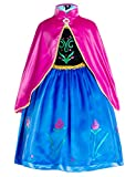 Princess Anna Costumes Birthday Party Dress Up for Little Girls/Long Sleeve with Cape
