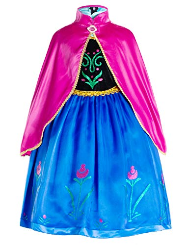 (Princess Anna Costumes Birthday Party Dress Up for Little Girls/Long Sleeve with Cape 8-10 Years)