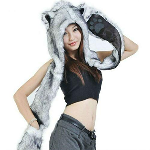 Faux Fur Animal Hoods With Attached Paws (Grey Gray Wolf Anime Faux Animal Hood Hoods Mittens Gloves Scarf Spirit Animal's Paws and)