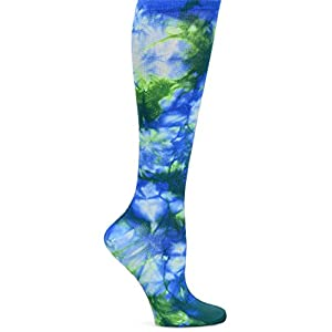 Nurse Mates Women's Compression Trouser Socks, Tie Dye Royal Green, XX
