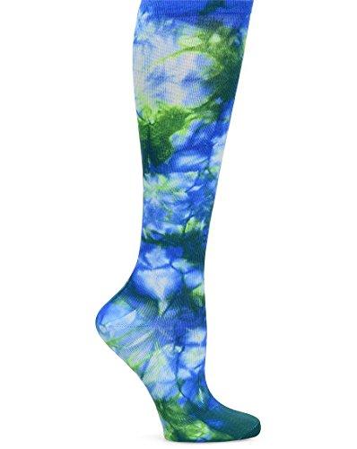 Nurse Mates Women's Compression Trouser Socks, Tie Dye Royal Green, XX