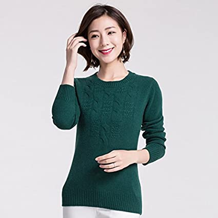 HY Sweater Rundhalsausschnitt Pullover Slim Twist Lange