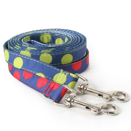 Thin Two Tone Dots Blue Dog Leash--RED