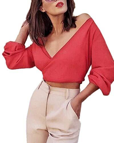 Crop V Rot Lunghe Top Bowknot Glamorous Scollo Ladies Corta Camicie A Semplice Estate Tinta Aderenti New Unita Deep Camicetta Casual Maniche qC40xw