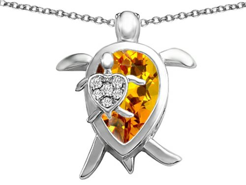Star K Large Mother and Baby Turtle family Pendant Necklace with 12x8mm Pear Shape Simulated Citrine ()