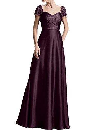 Abendkleider Kurzarm Damen Elegant La Partykleider Ballkleider A Lang Linie Braut Brautmutterkleider mia Satin Traube Rock qInwXU