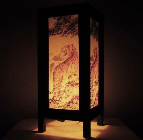 Thai Vintage Handmade Asian Oriental Thai Royal Bengal Tiger Bedside Table Light or Floor Wood Paper Lamp Shades Home Bedroom Garden Decor Modern Design from Thailand (Tiger Decorations)