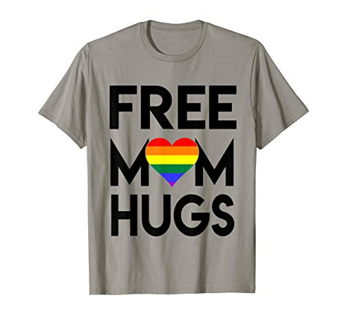 free mom hugs tshirt rainbow heart LGBT pride month  T-Shirt