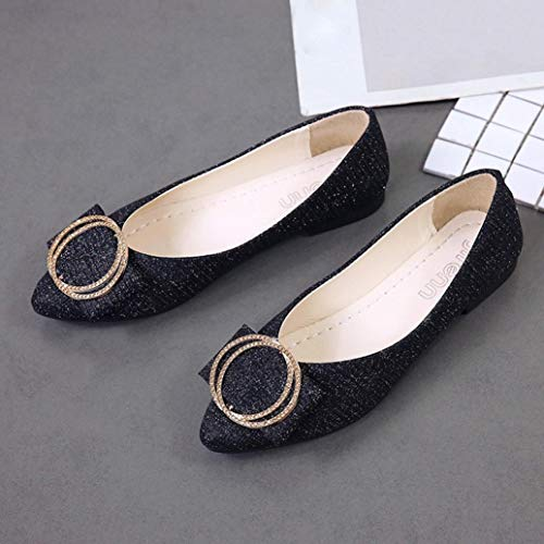 Slip Shoes Flat Heel Low Party Pointed Single Shallow Fashion Women On FALAIDU Sequins Shoes Black v4twSUxTn