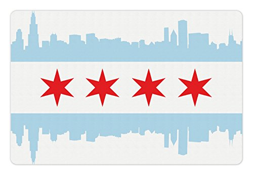 """Ambesonne Chicago Skyline Pet Mat for Food and Water, City of Chicago Flag with High Rise Buildings Scenery National, Non-Slip Rubber Mat for Dogs and Cats, 18"""" X12"""", Red White"""