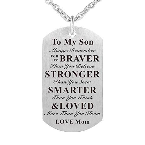 WPFdesign Son Dog Tag Necklace Jewelry Keychain Pendant from Mom ()