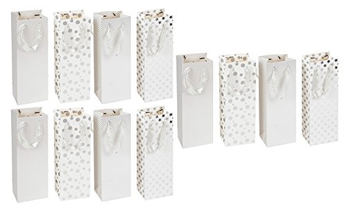 Case Stars Silver Design (Wine Gift Bags - 12-Pack Wine Bags for Anniversary, Birthday, Retail, All Occasion, 4 White and Silver Foil Designs, 3 of Each - Spirits and Wine Bottle Gift Bags with Handles, 4.7 x 4 x 13.7 inches)
