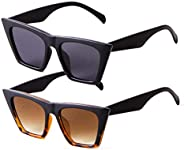 SORVINO Small Vintage Sunglasses Retro Cateye Sunglasses for Women Men Square Frame