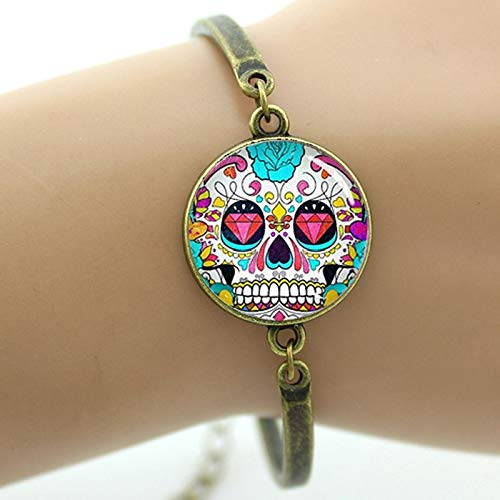 (Chain & Link Bracelets - Colorful Sugar Skull Bracelet Hipster red Floral Roses Charm Skeleton Jewelry Day of The Dead Halloween Jewellery Gift Men T814 - by YPT - 1 PCs)
