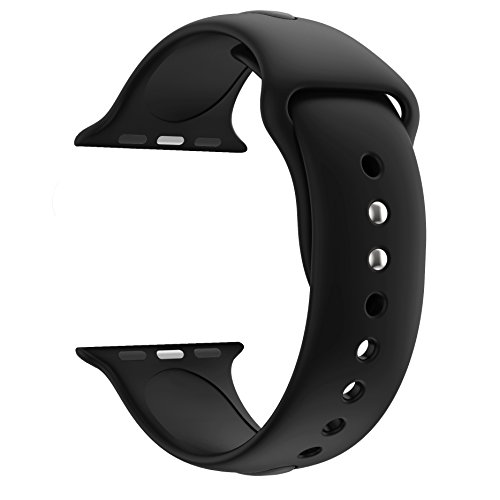 Huanlong 42mm New Soft Silicone Sport Style Replacement Iwatch Strap Band for Apple Wrist Watch Series 1/2/3(Black 42mm (Black Belt Watch)