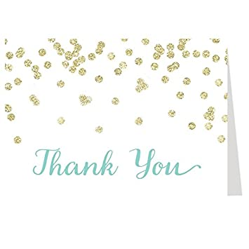 Amazon Brunch Baby Shower Thank You Cards Gold Confetti