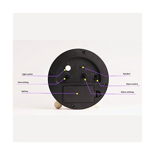 Cute Color Alarm Clock, Round Metal Desk Clock Portable Clocks with Night Light House Decorations -520.swiss-shepherd-dog-dog-white-animal-46523 (Black) 2