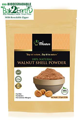 - mi nature natural Walnut Shell Powder - No Silica or Any Artifical Additives - For Homemade Natural Scrub Formula - 227g / 1/2 lbs / 8 oz, Eco friendly Pack