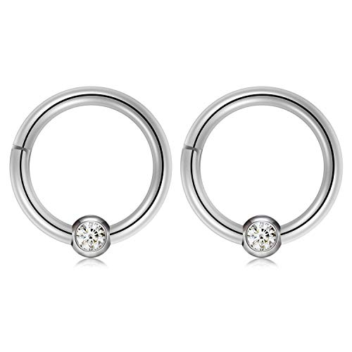 Kangyijia 16G 5/16inch Segment Seamless Hinged Clicker Septum Nose Rings Clear CZ Captive Beads Clicker Piercing
