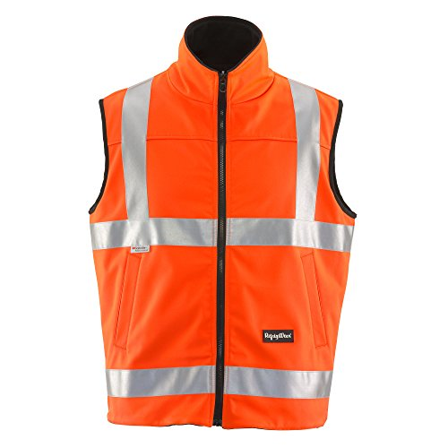 (RefrigiWear Men's Hivis Reversible Softshell Safety Vest - ANSI Class 2 High Visibility Orange with Reflective Tape (Large))