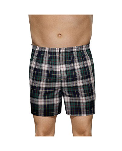 Fruit of the Loom Men's Premium Woven Boxer (4 Pack) (XX-Large, Lowrise Plaid Boxers)