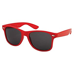 Epic Brand Wayfarer Sunglasses Collection for Men and Women | Classic 80's Retro Vintage Fashion Timeless Style (Red, Black 52mm Non-Polarized)