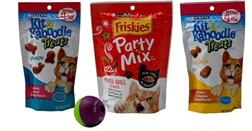 Kit & Kaboodle / Friskies Party Mix Treats for Cats 3 Flavor Variety Bundle with Treat Ball, (1) Each: Salmon Tuna, Mixed Grill, Chicken Cheddar Cheese (4-6 Ounces)