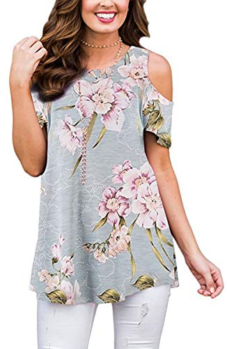 Womens Summer Cold Shoulder Shirts Casual Loose Short Sleeve Floral Printed Tunic Blouse Tops Grayish Blue