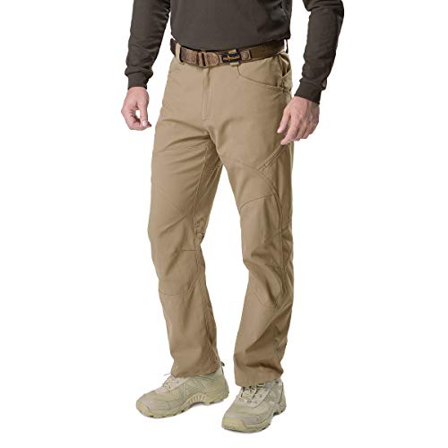 FREE SOLDIER Men's Tactical Pants Lightweight Breathable Work Cargo Long Pants with Multi Pockets Water Resistant Traveling Trousers for Casual and Military (Khaki Upgrade, 34W / 30.7L)
