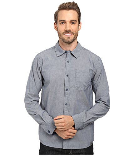 Smartwool Men's Summit County Chambray Long Sleeve Shirt Dark Steel Blue Button-up Shirt LG
