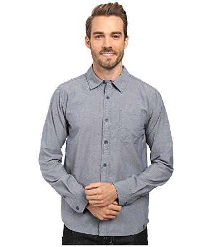 Smartwool Men's Summit County Chambray Long Sleeve Shirt Dark Steel Blue Button-up Shirt LG