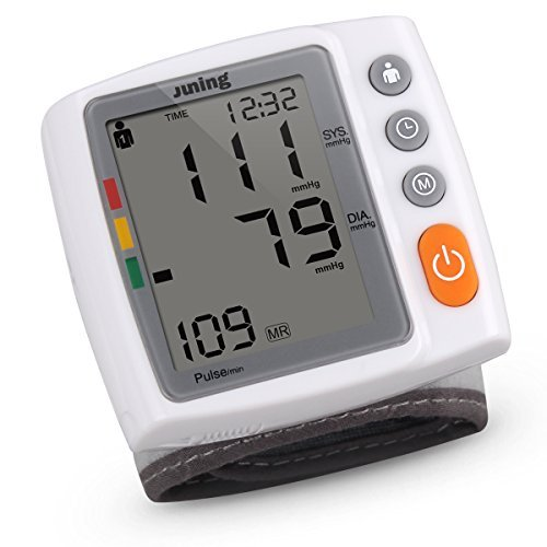 Digital Wrist Blood Pressure Monitor with Heart Rate Detection, Two User Modes, Memory Recall and Large Backlit LCD Display-JUNING...