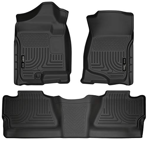 (Husky Liners 98201 Black Weatherbeater Front & 2nd Seat Floor Liners Fits 2008-2013 Chevrolet-GMC Silverado/Sierra 1500 Crew Cab Pickup, 2007-2014 Chevrolet-GMC Silverado/Sierra 2500/3500 Crew Cab )