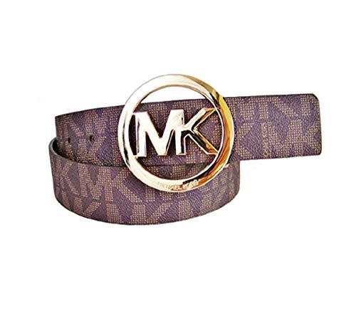 Michael Kors Mk Signature Monogram Logo Gold Buckle Belt Brown Size Large ()