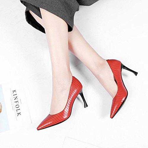 de 39 rojo boca alargada zapatos de cabeza de alto Transpirable fina mujer elegante tacon Treinta Sandalias 8 Solo luz cm Moda los Zapatos zapatos AJUNR cinco y tacones wqpT1Cp