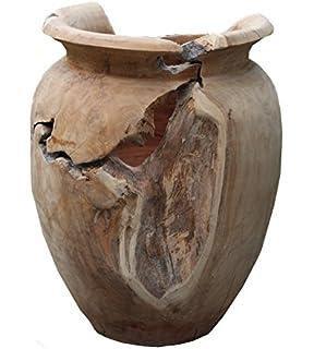 Trendy Home24 20015 Massive Vase Wurzel Teakholz Natur, Circa 34 Cm