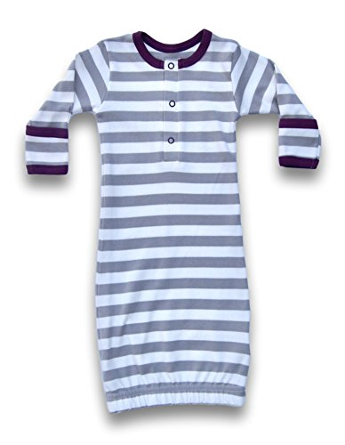 Cat & Dogma Certified Organic Infant/Baby Clothes Stripe/Eggplant Gown (0-6 - Free Duty Miami