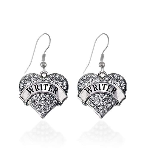 Inspired Silver - Writer Charm Earrings for Women - Silver Pave Heart Charm French Hook Drop Earrings with Cubic Zirconia Jewelry