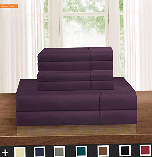 Mikash Soft 1500 Thread Count Egyptian 6-Piece Hotel Quality Wrinkle and Fade Resistant Coziest Set, Easy All Around Elastic Fitted Sheet, California King Eggplant-Purple | Style -