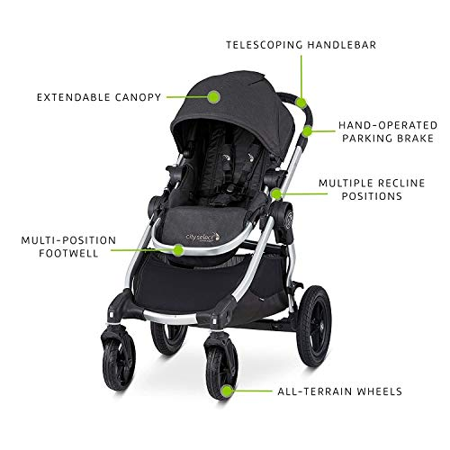 41tFY877v5L - Baby Jogger City Select Travel System | Baby Stroller With City Go 2 Car Seat | Stroller Car Seat Combo With 16 Ways To Ride, Jet