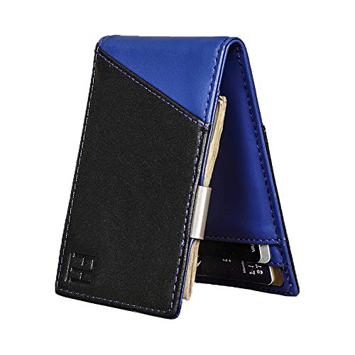 F&H Signature Slim RFID Money Clip Wallet in Top Grain Leather (Black/Blue)
