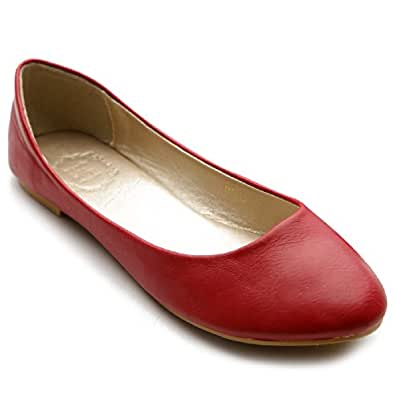 Ollio Women's Shoe Ballet Basic Light Comfort Low Heel Flat M1009 (5.5 B(M) US, Red)