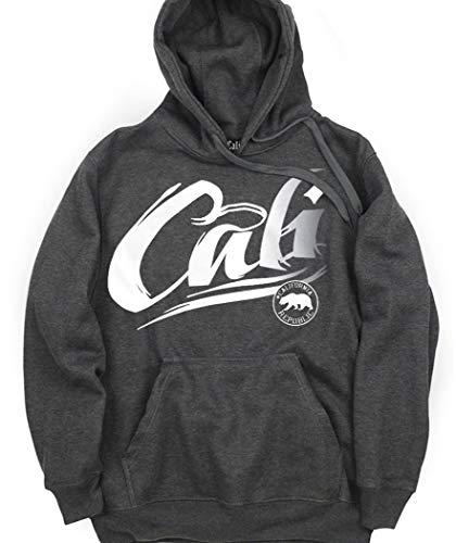 CaliDesign Charcoal Grey CALI Hoodie California Tattoo Logo Pullover Sweatshirt, L - Large (Supreme Grey On Grey Box Logo Hoodie)