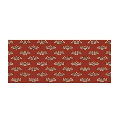 TecBillion Geometric Beautiful Floor Sticker,Eastern Foliage Pattern with Warm Tones Lotus Leaves Abstract Motifs Japan for Indoor Floor,47.2