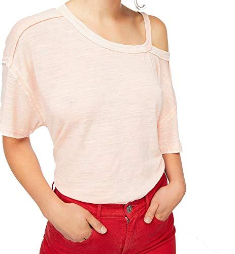Free People Womens Alex Cold Shoulder Slub T-Shirt Pink XS